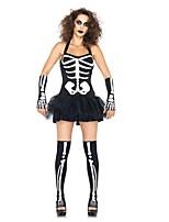 Squelette / Crâne Tenue Féminin Halloween Le jour des morts Fête / Célébration Déguisement d'Halloween Noir Rétro