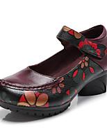 Women's Modern Real Leather Leather Sandal Sneaker Professional Flower(s) Chunky Heel Red Purple Black