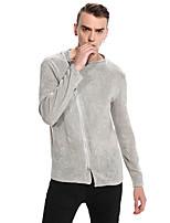 Standard Pullover Da uomo-Casual Tinta unita Colletto alla coreana Manica lunga Cotone Autunno Inverno Medio spessore Media elasticità