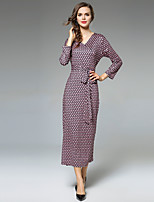 Maxlindy Women's Party Going out Casual/Daily Sexy Vintage Sophisticated A Line Dress,Geometric V Neck Midi 3/4 Length Sleeves Polyester Fall
