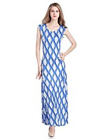 Women's Plus Size Casual Street chic Swing Dress,Print Round Neck Maxi Sleeveless Polyester Summer Mid Rise Stretchy Medium