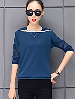 Women's Daily Spring Fall T-shirt,Color Block Square Neck Long Sleeves Rayon Polyester Thin