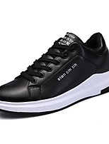 Для мужчин обувь Кожа Весна Осень Светодиодные подошвы Кеды Шнуровка Назначение Повседневные Белый Черный