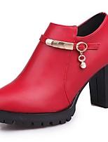 Damen Schuhe Kunstleder PU Herbst Komfort High Heels Blockabsatz Runde Zehe Reißverschluss Für Normal Schwarz Rot