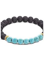 Homme Femme Bracelets de rive Turquoise Acrylique Bohême Fait à la main Acrylique Turquoise Forme Ronde Balle Bijoux Pour Décontracté