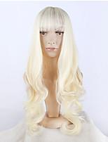 Mujer Pelucas sintéticas Largo Rubio Con flequillo Peluca de fiesta Pelucas para Disfraz