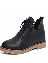 Women's Shoes PU Fall Winter Comfort Boots Flat Heel Booties/Ankle Boots Lace-up For Casual Gray Black