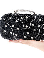 Women Bags All Seasons Polyester Evening Bag Buttons Pearl Detailing for Event/Party Gold Black Silver