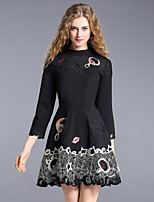 Women's Holiday Going out Cute Street chic A Line Dress,Color Block Embroidered Round Neck Above Knee 3/4 Length Sleeves Cotton Rayon