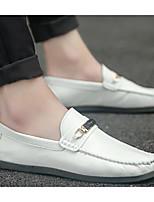 Для мужчин обувь Кожа Весна Осень Светодиодные подошвы Мокасины и Свитер Назначение Повседневные Белый Черный Серый
