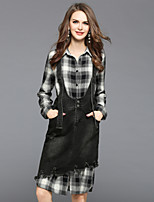 EWUS Women's Going out Daily Dresses&Skirts Fall Shirt Skirt SuitsPlaid/Check Shirt Collar Long Sleeve Inelastic