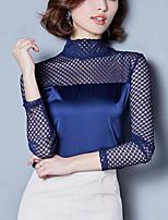 Chemisier Femme,Couleur Pleine Sortie Grandes Tailles Automne Hiver Manches Longues Col Roulé Polyester Nylon Moyen