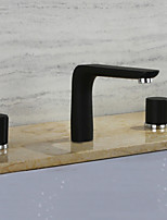 Widespread Ceramic Valve Three Holes Painting , Bathroom Sink Faucet