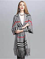 Women's Cotton Acrylic Rectangle Print Fall Winter