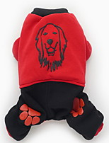 Dog Clothes/Jumpsuit Dog Clothes Keep Warm New Year's Color Block Red