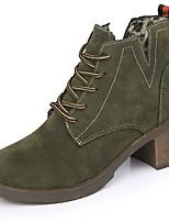 Femme Chaussures Polyuréthane Automne Hiver boîtes de Combat Bottes Block Heel Bout rond Bottes Mi-mollet Lacet Pour Décontracté Noir