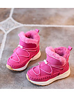 Girls' Shoes Cowhide Winter Fall Snow Boots Fluff Lining Boots For Casual Black Gray Fuchsia