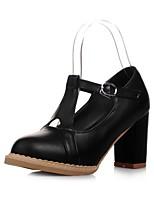 Для женщин Обувь Дерматин Осень Удобная обувь Оригинальная обувь Обувь на каблуках Круглый носок Цветы Назначение Свадьба Для вечеринки /