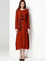 Mary Yan & Yu Women's Holiday Casual/Daily Vintage Simple Long PulloverPrint Round Neck Long Sleeves Wool Fall Winter Medium Micro-elastic