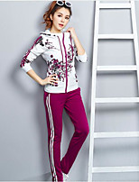Women's Daily Casual Spring Fall Hoodie Pant Suits,Striped Floral Hooded Long Sleeve Stretch Yarn