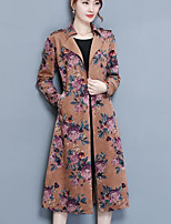 Women's Daily Going out Street chic Winter Fall Trench Coat,Print Shirt Collar Long Cotton