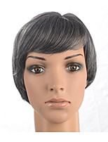 Women Synthetic Wig Capless Short Straight Black/White Layered Haircut Asymmetrical Haircut Party Wig Celebrity Wig Halloween Wig