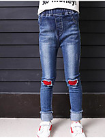 Girls' Color Block Jeans-Cotton Fall