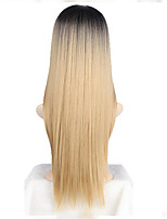 Women Synthetic Wig Capless Long Straight Black/Strawberry Blonde Ombre Hair Dark Roots Middle Part Cosplay Wig Costume Wig