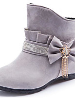 Women's Shoes PU Fall Winter Fashion Boots Boots Chunky Heel Square Toe Booties/Ankle Boots For Casual Burgundy Gray Black