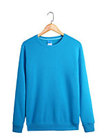 Men's Daily Sweatshirt Solid Round Neck Micro-elastic Cotton Long Sleeve Fall