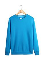 Sweatshirt Homme Décontracté / Quotidien Couleur Pleine Col Arrondi Micro-élastique Coton Manches longues Automne