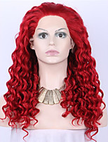 Red Long Kinky Curly Synthetic Lace Front Wig For Women Glueless Heat Resistant Fiber Hair Half Hand Tied Party/Celebrity/Cosplay/Halloween Wig