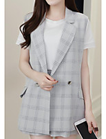 Women's Going out Casual/Daily Street chic Summer Shirt Pant Suits,Plaid/Check Peter Pan Collar Sleeveless Inelastic