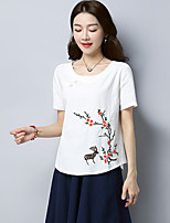 Women's Going out Chinoiserie T-shirt,Solid Floral Round Neck Short Sleeves Linen