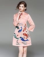 Linea A Vestito Da donna-Per uscire Casual Stoffe orientali Ricamato Colletto alla coreana Sopra il ginocchio Manica a 3/4 Lino Poliestere