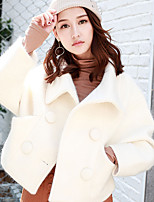 Women's Going out Simple Winter Trench Coat,Solid Notch Lapel Long Sleeve Long Cotton