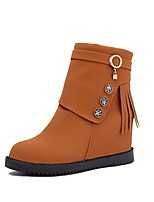 Women's Shoes Suede Fall Fashion Boots Boots Low Heel Round Toe Tassel For Casual Khaki Black