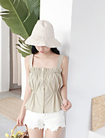 Women's Going out Casual/Daily Cute Summer Tank Top,Solid Square Neck Sleeveless Others Medium