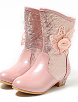 Girls' Shoes PU Winter Fashion Boots Boots Mid-Calf Boots For Casual Blushing Pink Silver