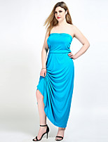 Cute Ann Women's Plus Size Casual/Daily Sexy Vintage Simple Loose Shift Tunic Dress,Solid Strapless Maxi Sleeveless Modal Spring Summer High Rise