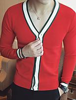 Men's Casual/Daily Simple Regular Cardigan,Striped V Neck Long Sleeves Cotton Fall Medium Micro-elastic
