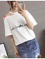 Women's Daily Cute Summer T-shirt,Solid Letter Round Neck Short Sleeves Cotton Thin