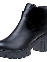 Femme Chaussures Polyuréthane Automne boîtes de Combat Bottes Gros Talon Bout rond Pour Décontracté Noir
