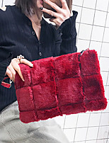 Women Bags Fur Shoulder Bag Zipper for Casual Outdoor All Seasons Black Red Gray