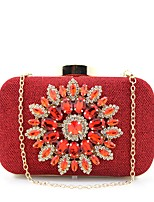Women Bags All Seasons Suede Clutch Beading Crystal Detailing for Event/Party Shopping Blue Gold Black Silver Red