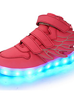 Girls' Shoes Real Leather Spring Fall Light Up Shoes Comfort Novelty Sneakers Magic Tape LED For Casual Outdoor Black Red Green Blue Pink