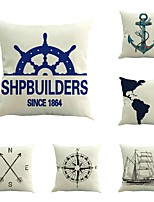 6 pcs Cotton/Linen Pillow Case Pillow Cover,Fashion Novelty Anchor Traditional/Classic Neoclassical Euro Retro