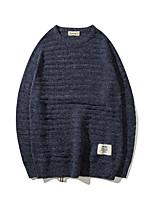 Herren Kurz Pullover-Lässig/Alltäglich Einfach Solide Rundhalsausschnitt Langarm Wolle Andere Frühling Herbst Mittel Mikro-elastisch