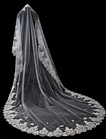 cheap -One-tier Lace Applique Edge Bridal Wedding Wedding Veil Chapel Veils 53 Applique Sequin Rhinestones Lace Tulle