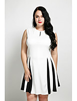 Cute Ann Women's Plus Size Casual/Daily Sexy Simple A Line Dress,Color Block Round Neck Above Knee Sleeveless Cotton Polyester All Seasons Fall